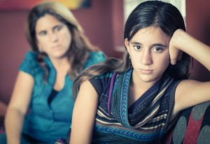 young girl and parent